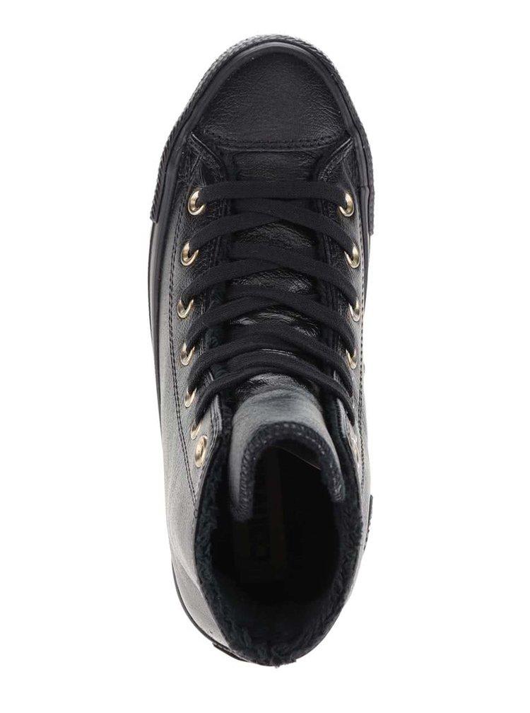 Černé dámské kožené kotníkové tenisky Converse Chuck Taylor All Star