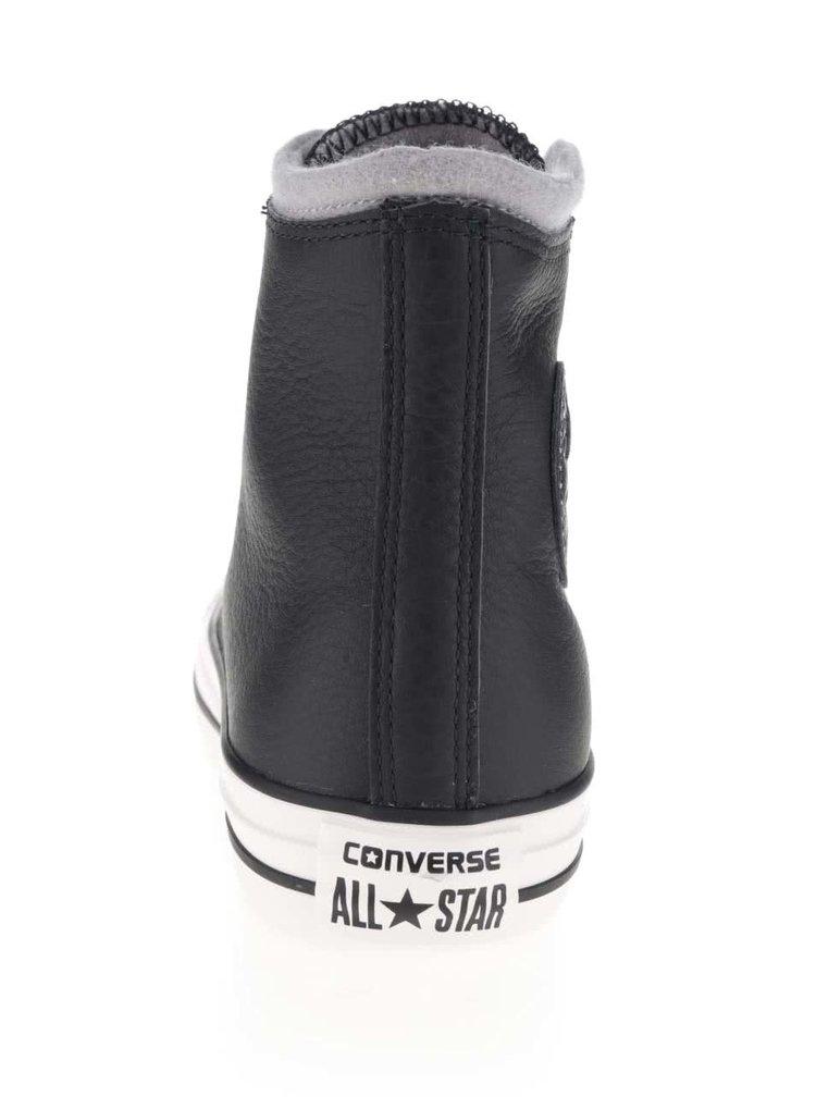 Černé unisex kožené kotníkové tenisky s šedým detailem Converse Chuck Taylor All Star