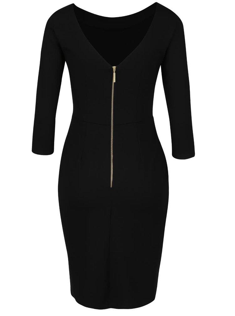 Čierne púzdrové šaty s 3/4 rukávom Closet