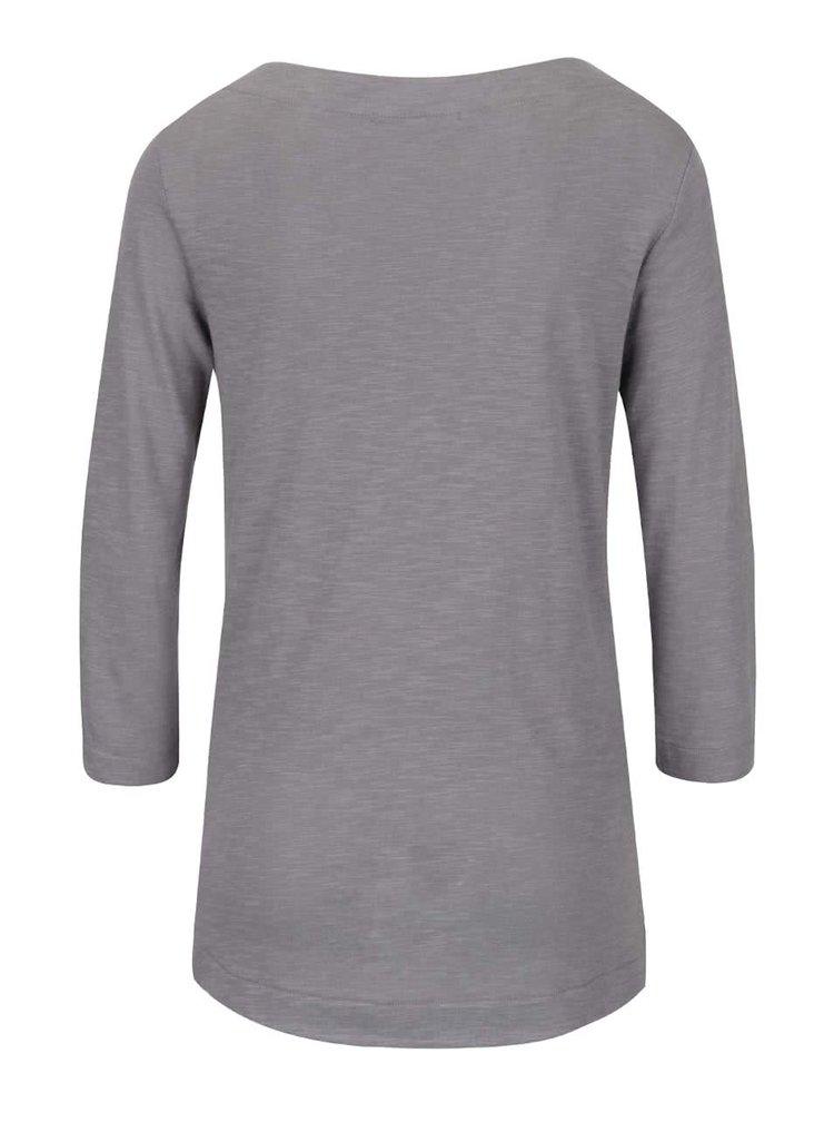 Šedé dámské tričko s potiskem a 3/4 rukávem  s.Oliver