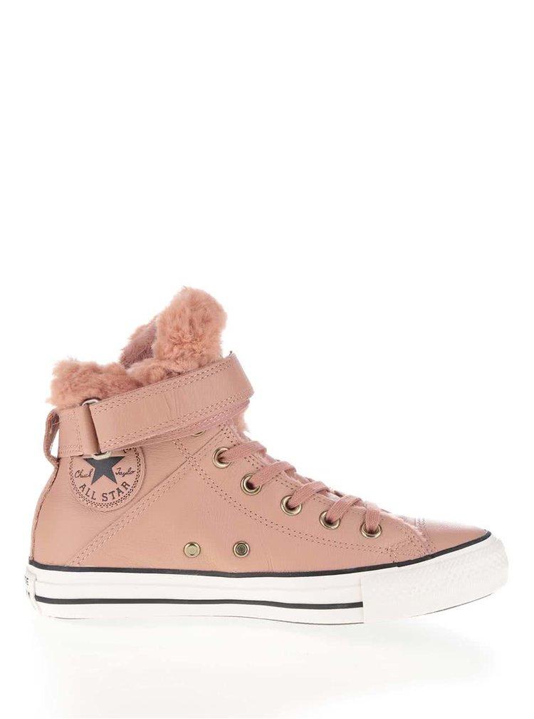 Růžové dámské kožené tenisky Converse Chuck Taylor All Star Chelsea Brea