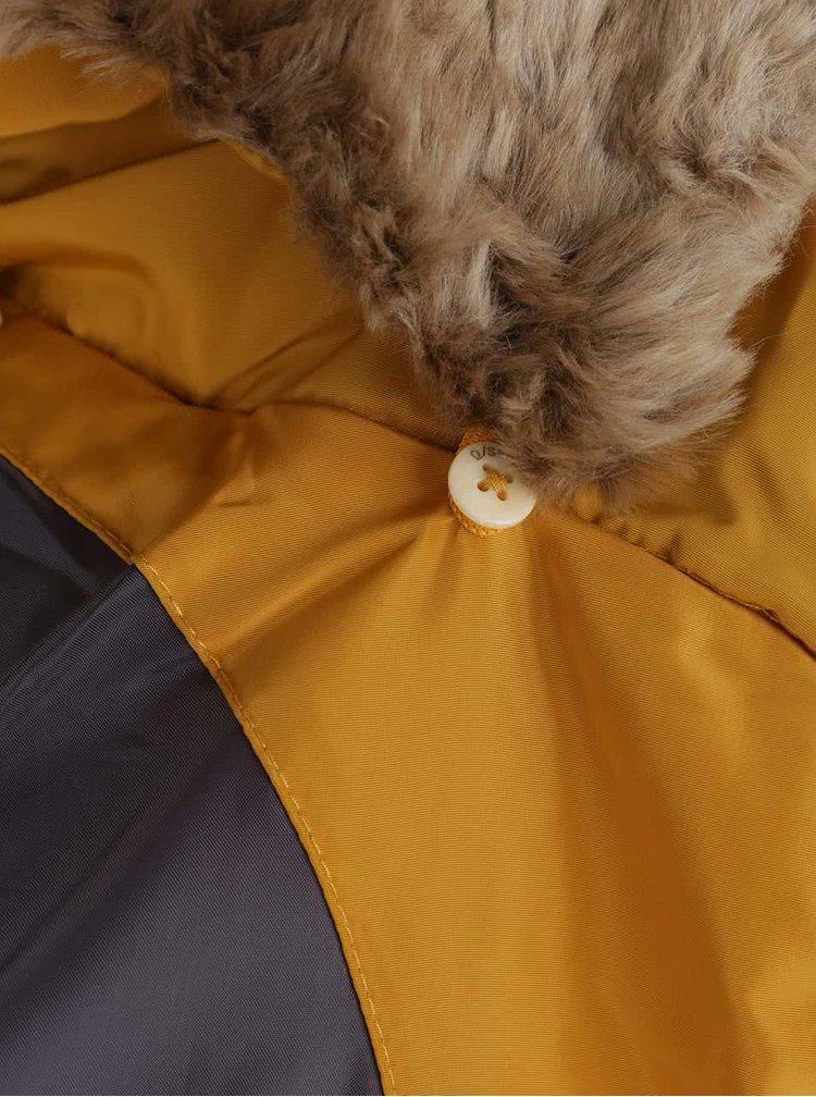 Horčicová dámska prešívaná bunda s vysokým golierom s.Oliver