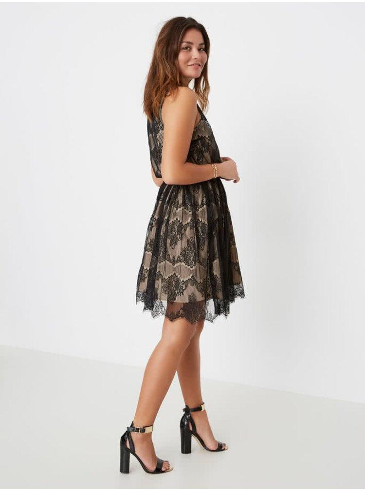 Černo-béžové krajkové šaty VERO MODA Sally