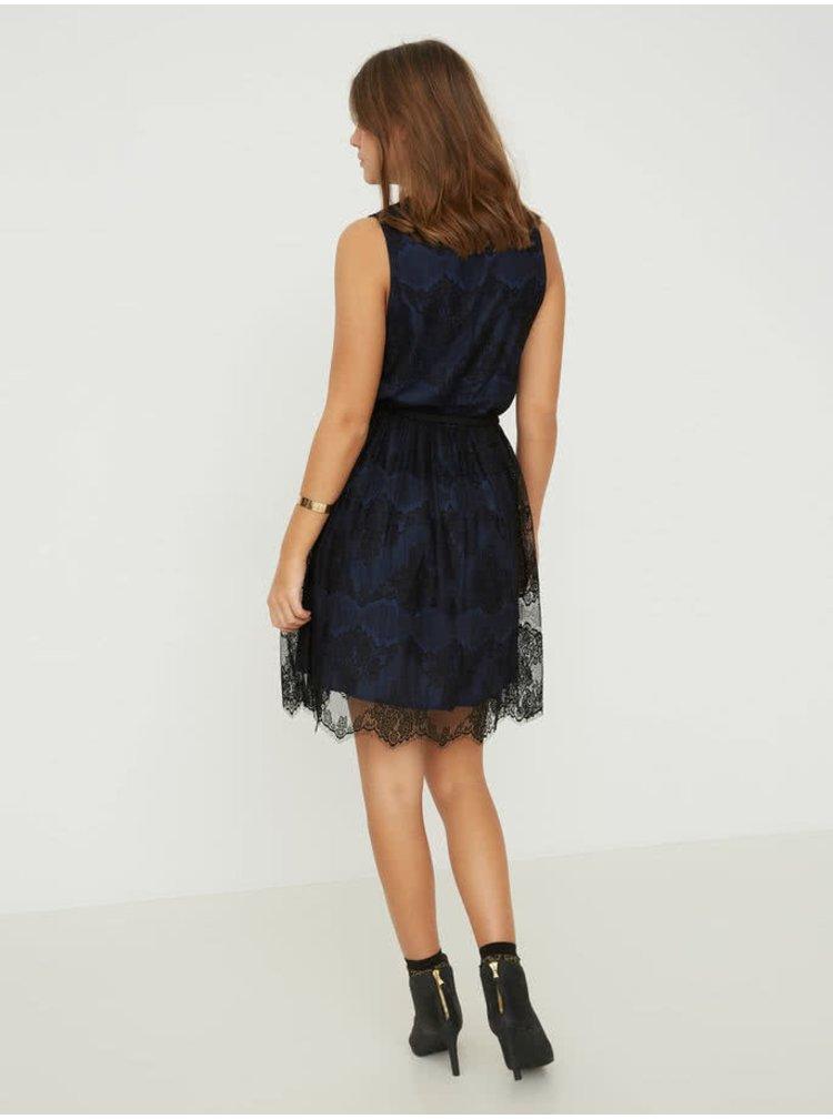 Černo-modré krajkové šaty VERO MODA Sally