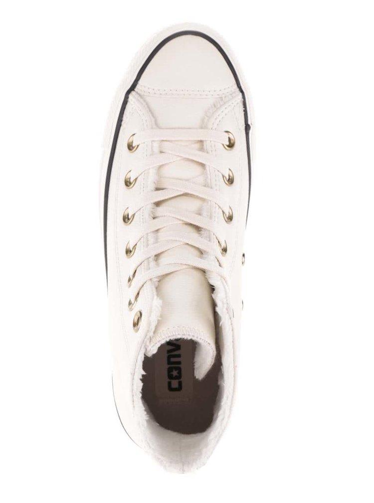 Krémové dámské kožené kotníkové tenisky Converse Chuck Taylor All Star
