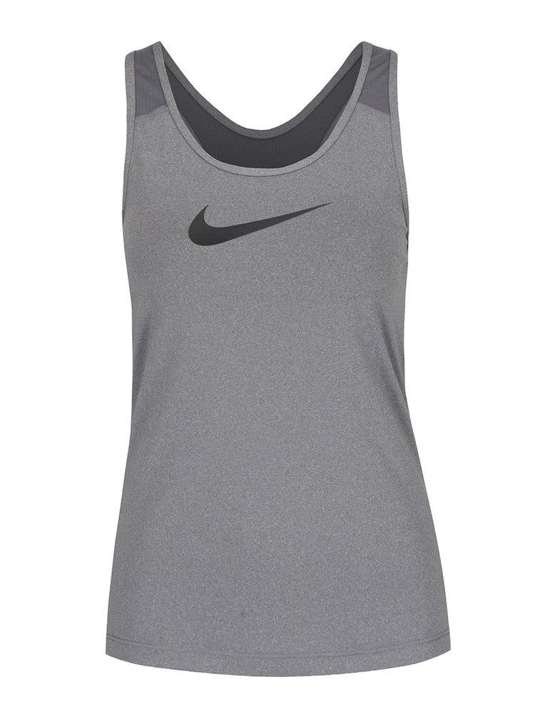 Top pentru antrenament gri Nike Pro Tank cu print cu logo pentru femei