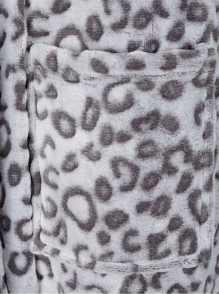 Halat de baie gri Something Special cu imprimeu leopard