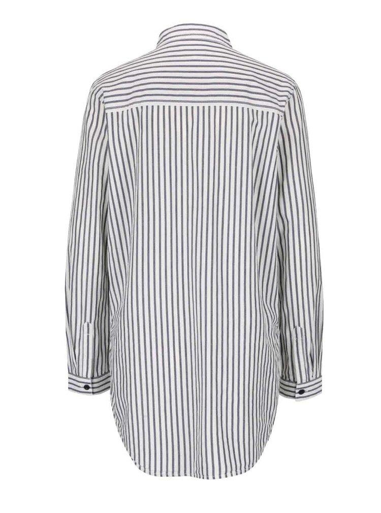 Šedo-bílá pruhovaná delší košile s.Oliver