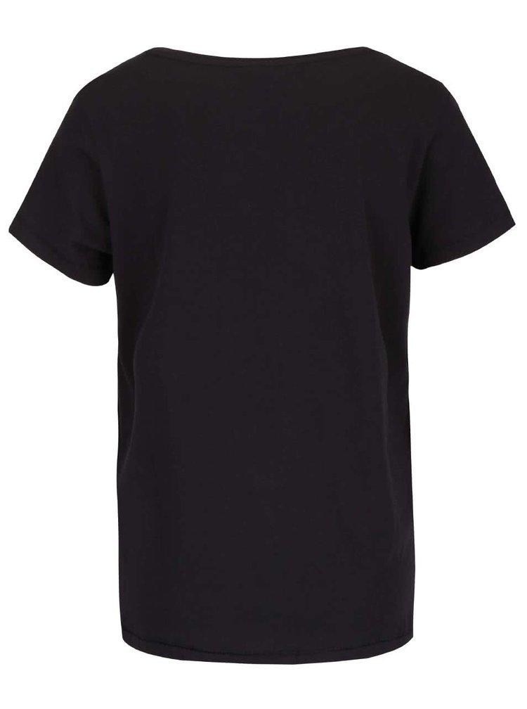 Černé tričko s potiskem lebky ONLY Cotton