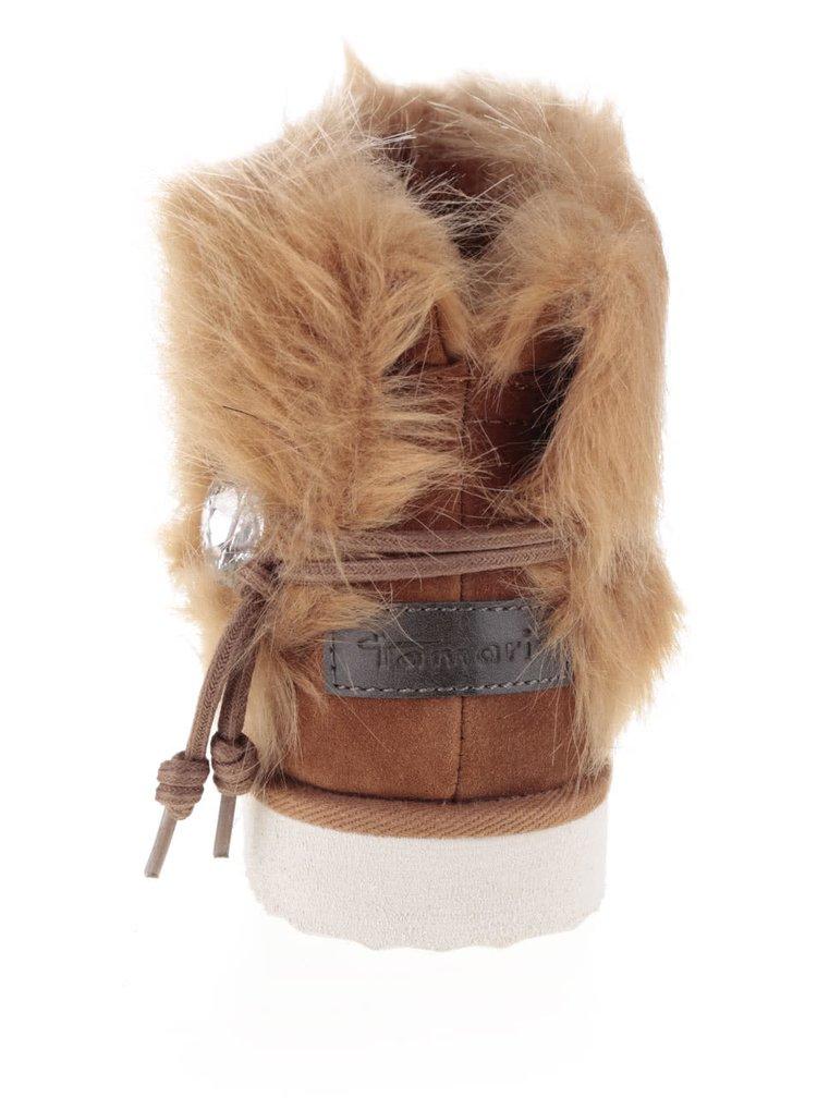Hnedé semišové členkové topánky s umelým kožúškom Tamaris