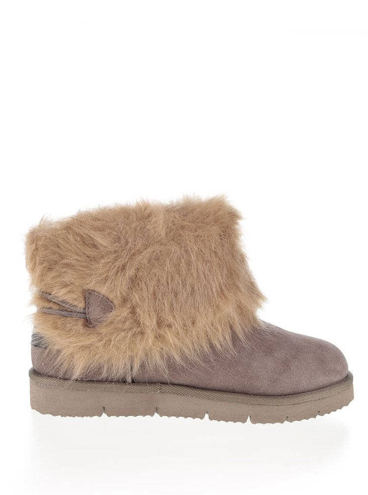 Hnědošedé semišové kotníkové boty s umělým kožíškem Tamaris