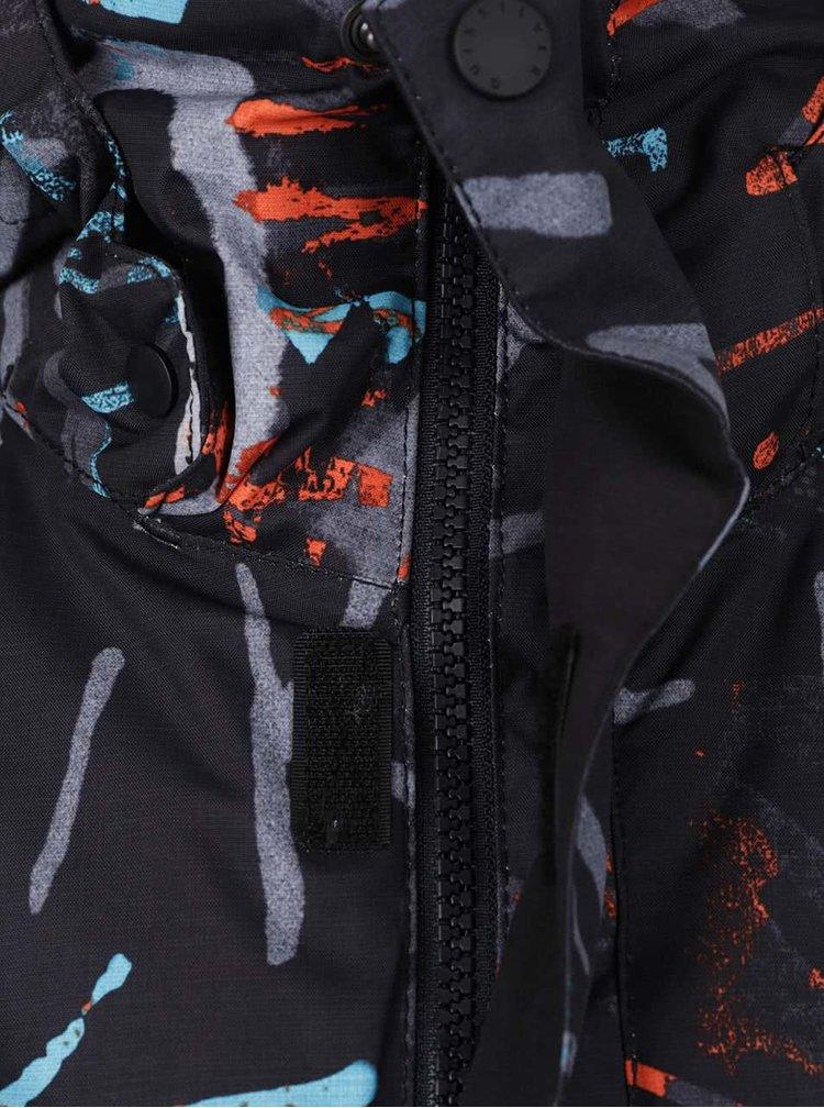 Černá klučičí zimní bunda s barevným vzorem Quiksilver