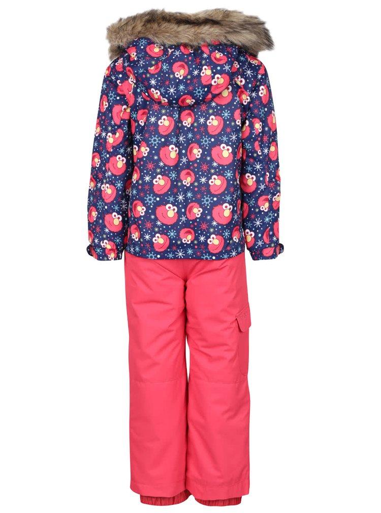 Ružová dievčenská zimná kombinéza so vzorom Roxy