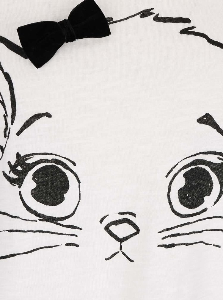 Krémové tričko s mašlí a motivem kočky ONLY Kaya