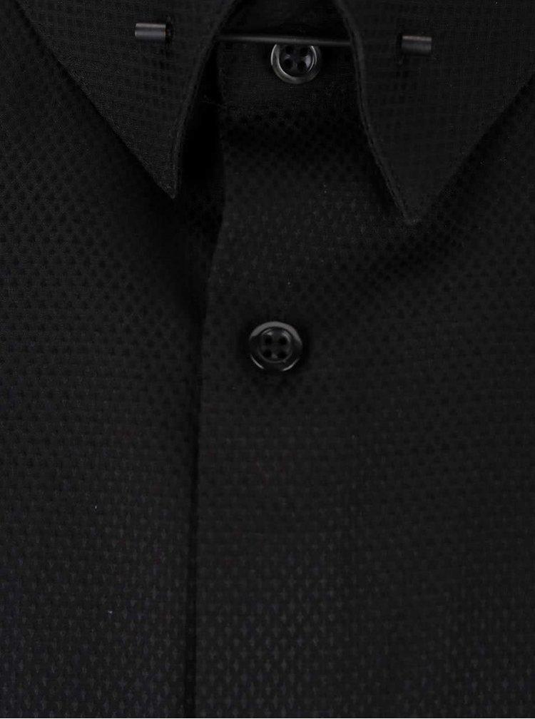 Čierna formálna skinny fit košeľa s jemným vzorom Burton Menswear London