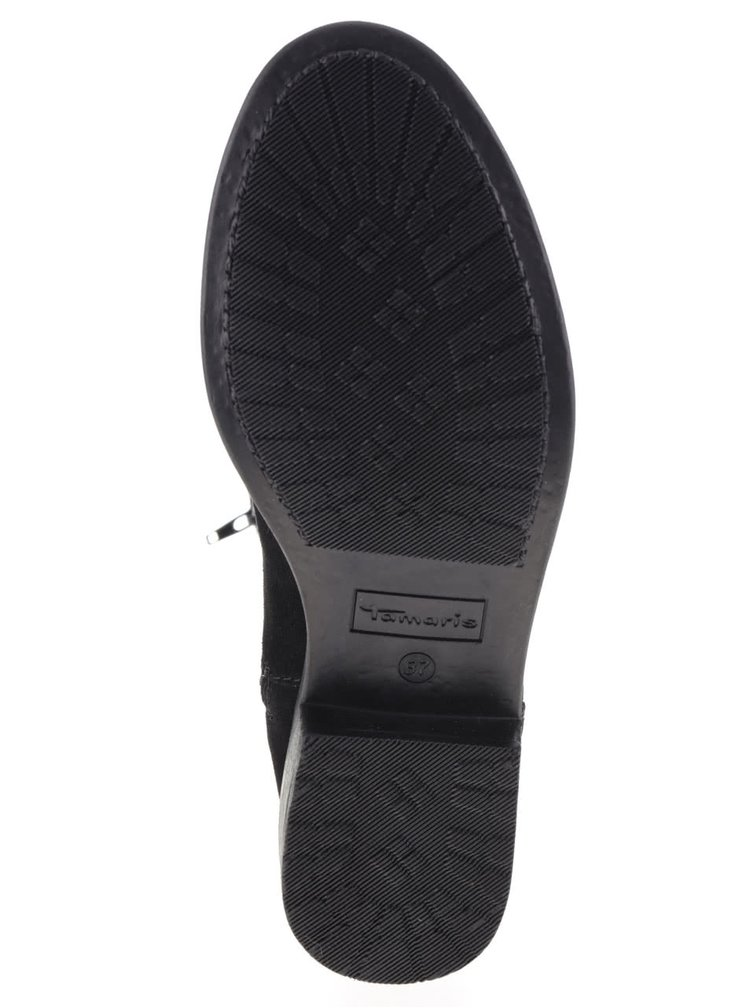 Černé semišové vysoké kozačky  Tamaris