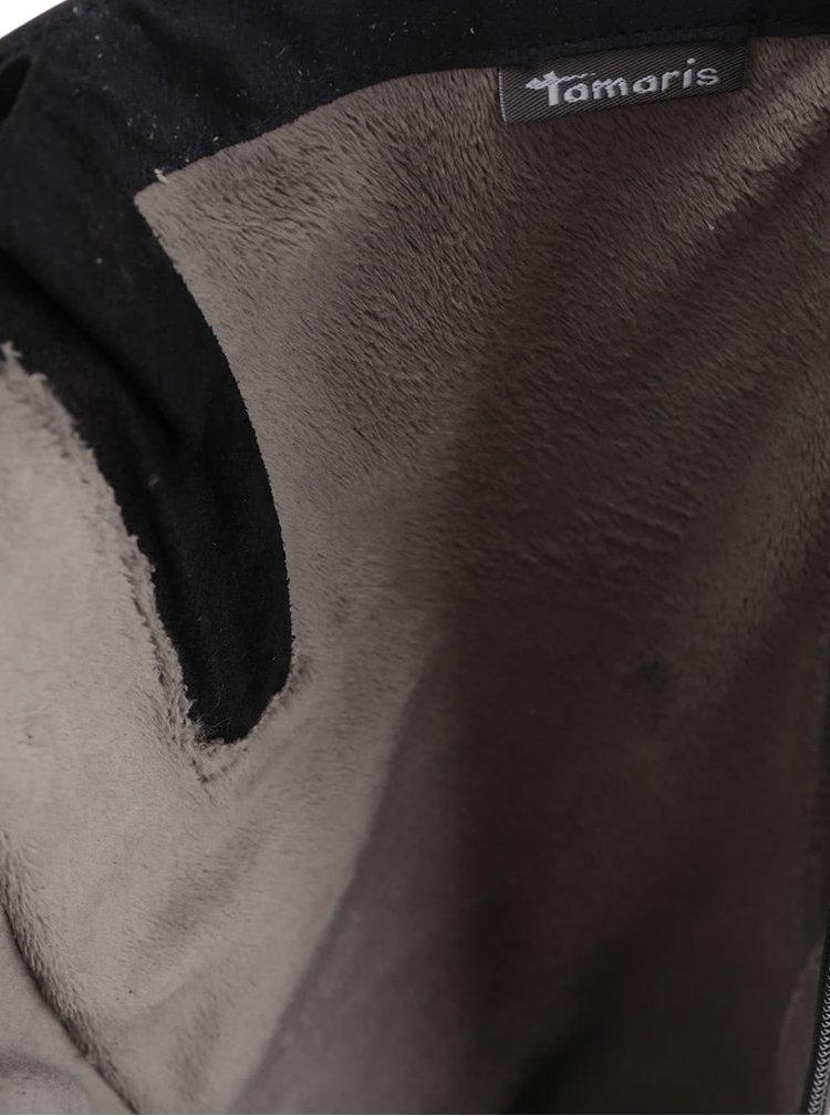 Černé kožené vysoké kazačky Tamaris