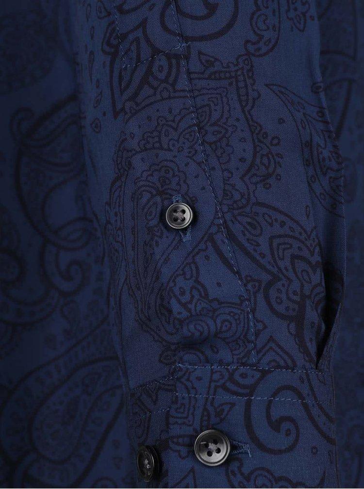 Tmavě modrá košile s černými vzory Burton Menswear London