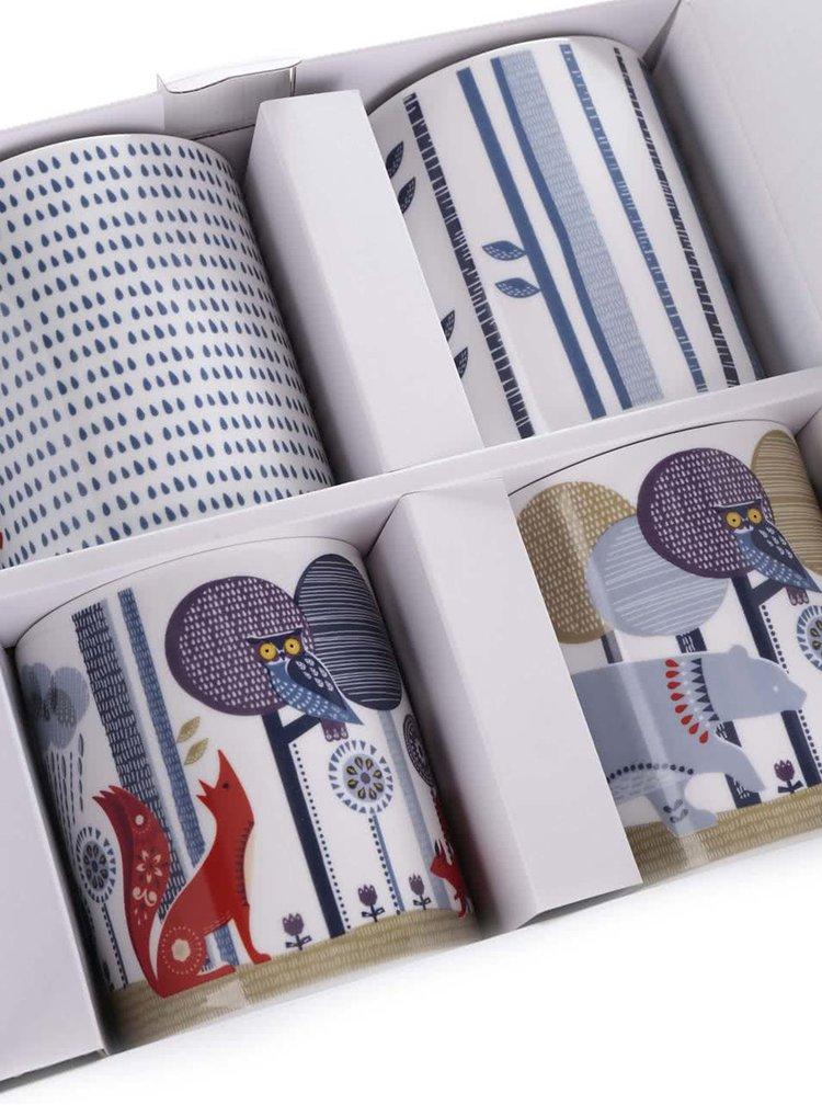 Set de 4 cani multicolore Folklore cu imprimeu din ceramica