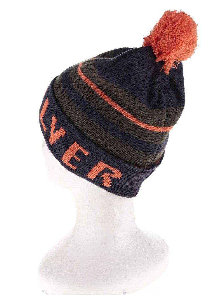 Oranžovo-modrá klučičí zimní čepice Quiksilver