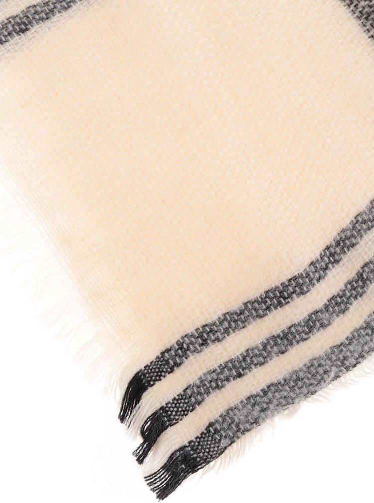 Krémovo-čierny šál Haily's Schal Karo
