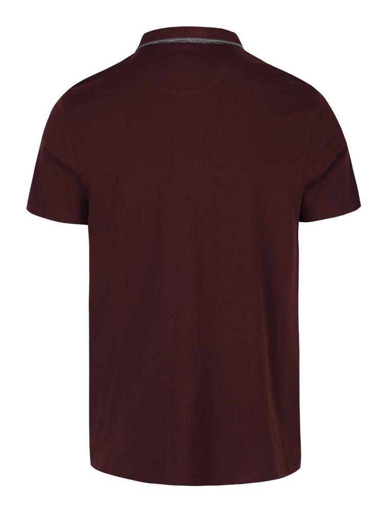 Vínové polo triko s kapsou Burton Menswear London