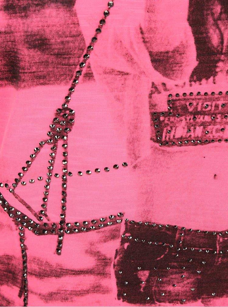 Neonově růžové tílko s potiskem Madonna