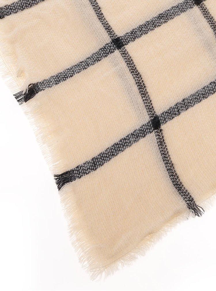 Krémová károvaná šála Haily´s Schal Rechteck