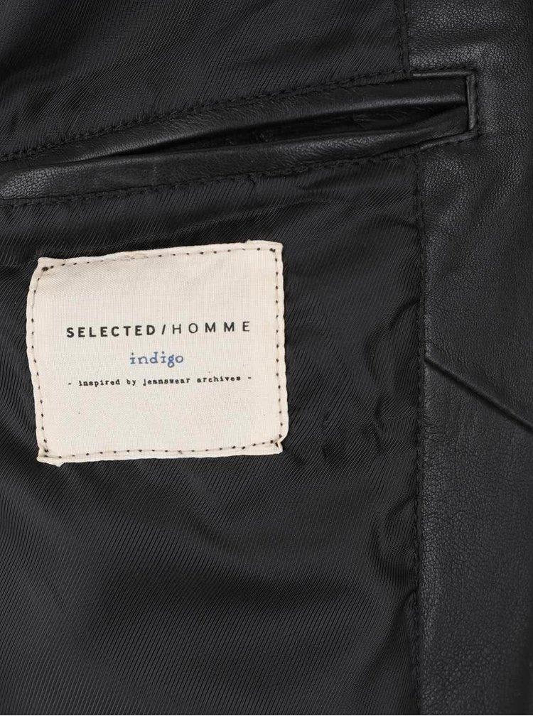 Jachetă neagră Selected Homme New Tylor din piele