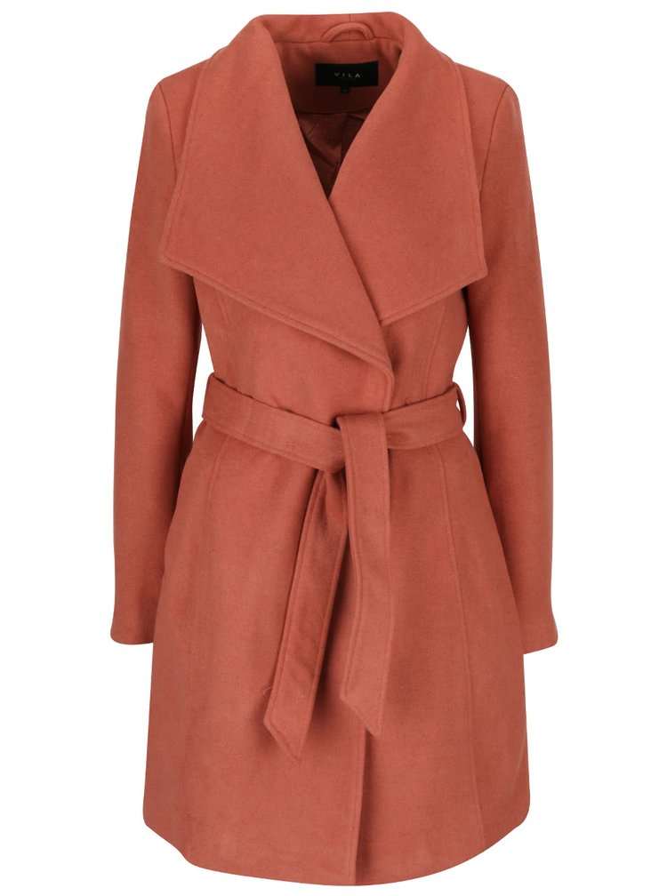Oranžový kabát s páskem VILA Director