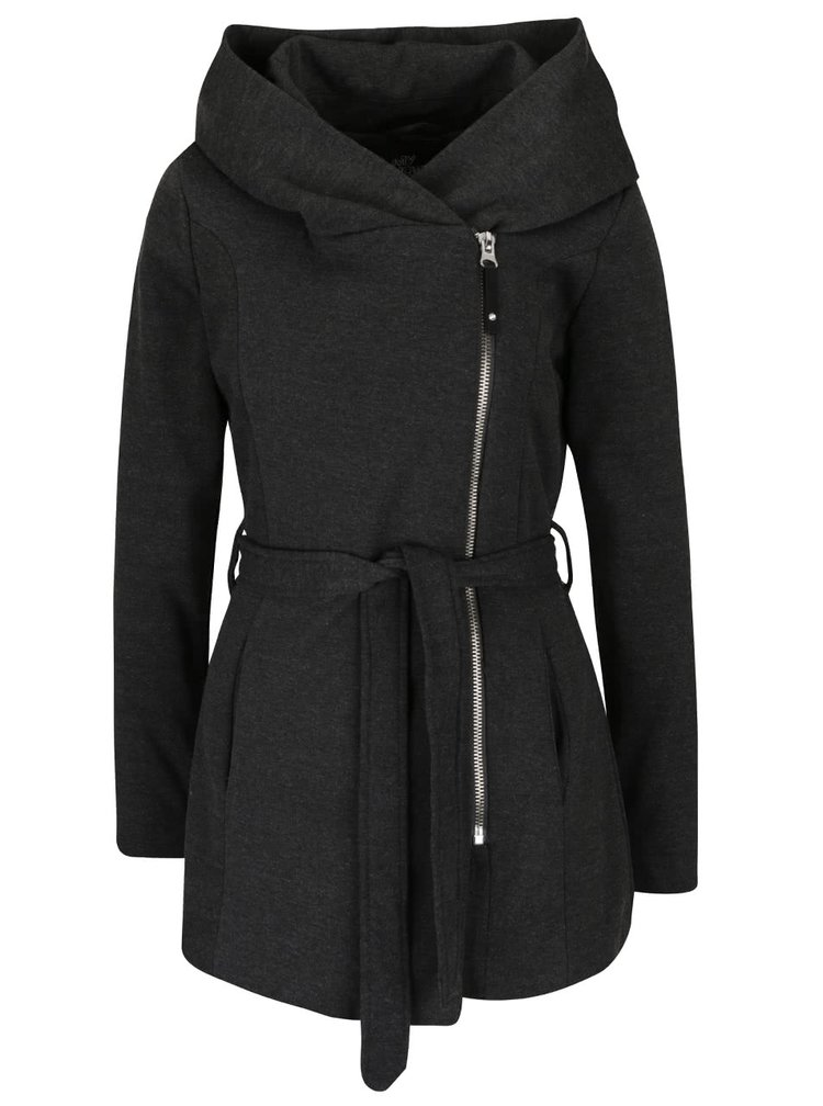 Tmavě šedý kabát s asymetrickým zapínáním a páskem Haily´s Minnie