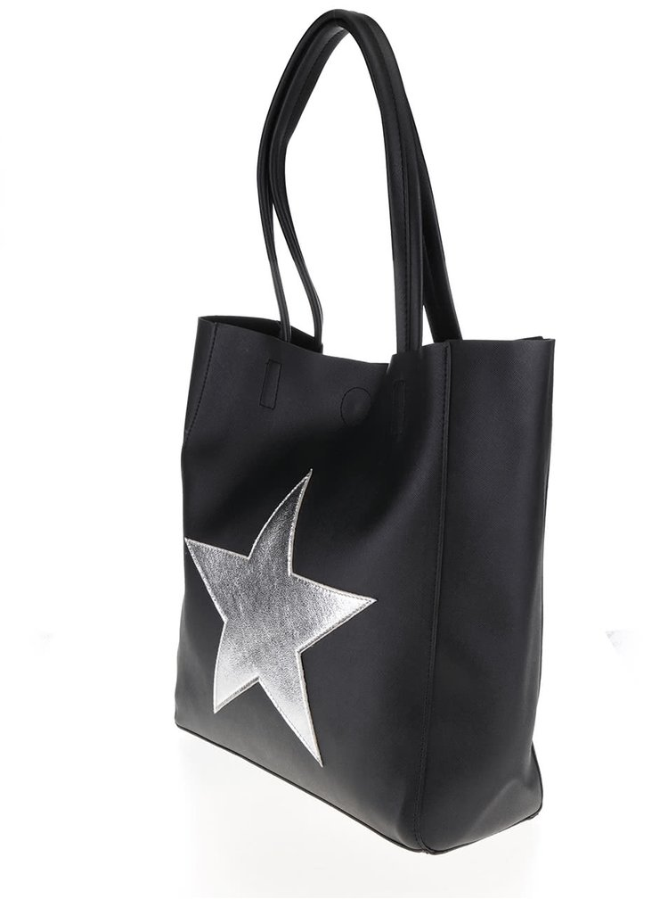 Černý shopper s nášivkou ve stříbrné barvě Haily´s Stellina