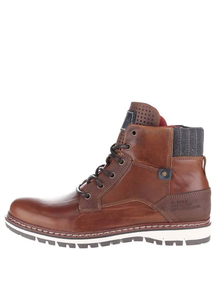 Hnedé pánske kožené členkové topánky so zipsom Bullboxer