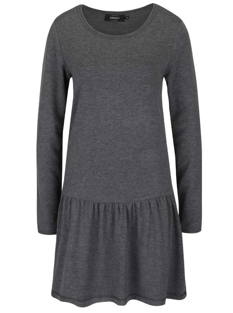 Tmavě šedé šaty s nařasením a dlouhým rukávem ONLY Cathrine