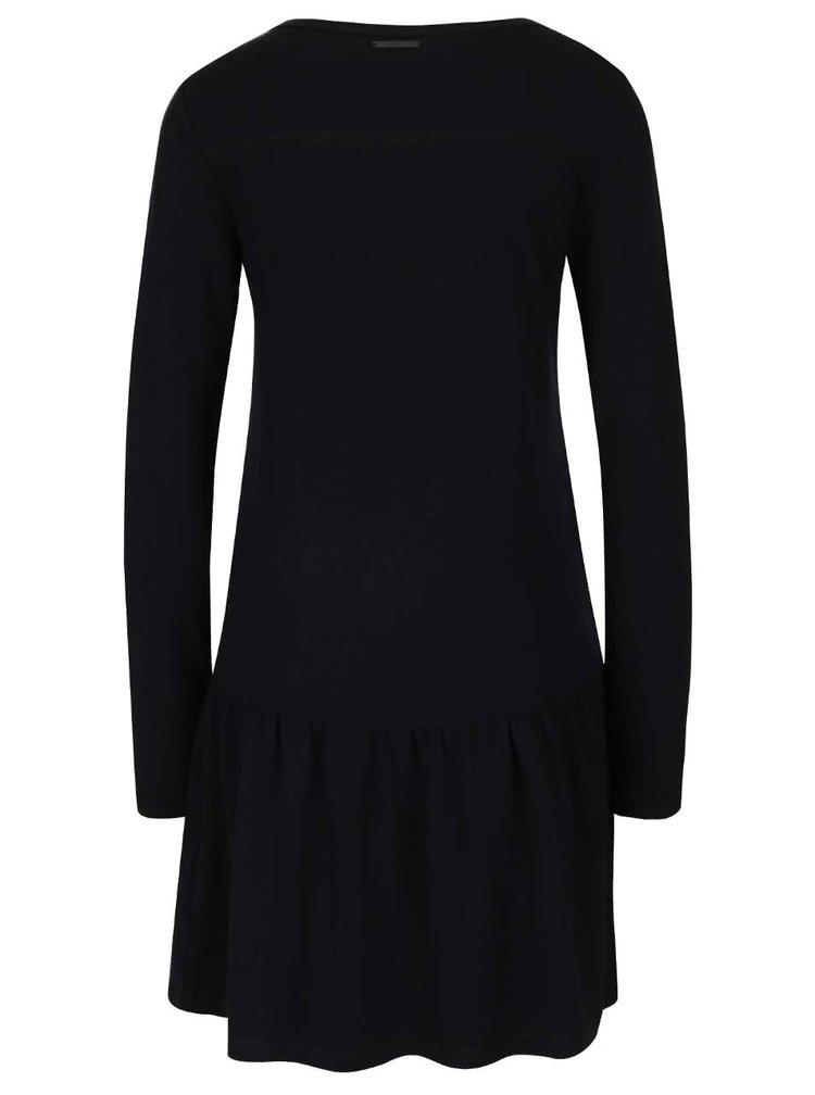 Černé šaty s nařasením a dlouhým rukávem ONLY Cathrine