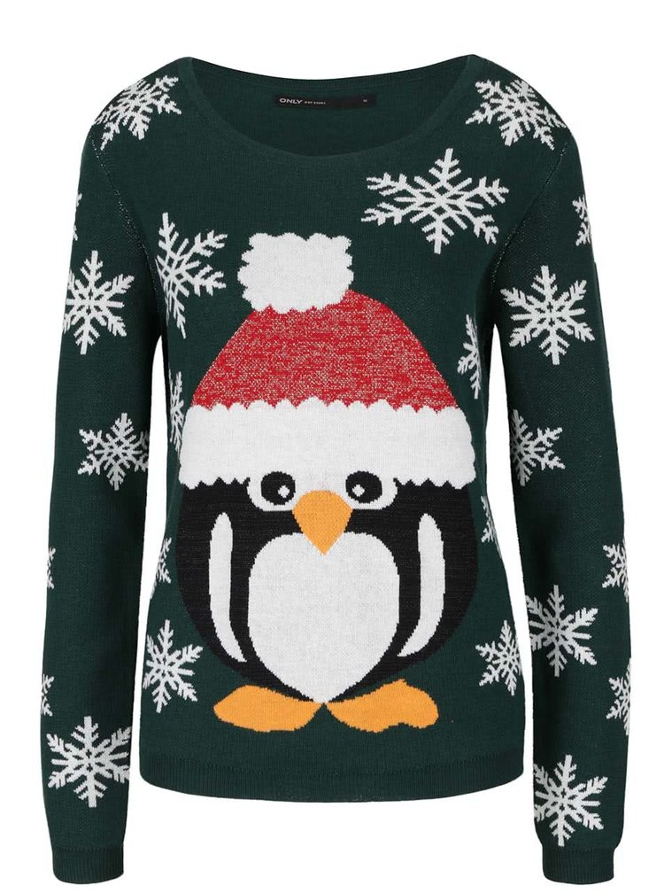 Tmavě zelený svetr s vánočním motivem ONLY X-Glory