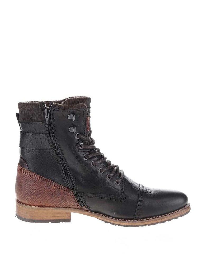 Hnědo-černé pánské kožené kotníkové boty Bullboxer