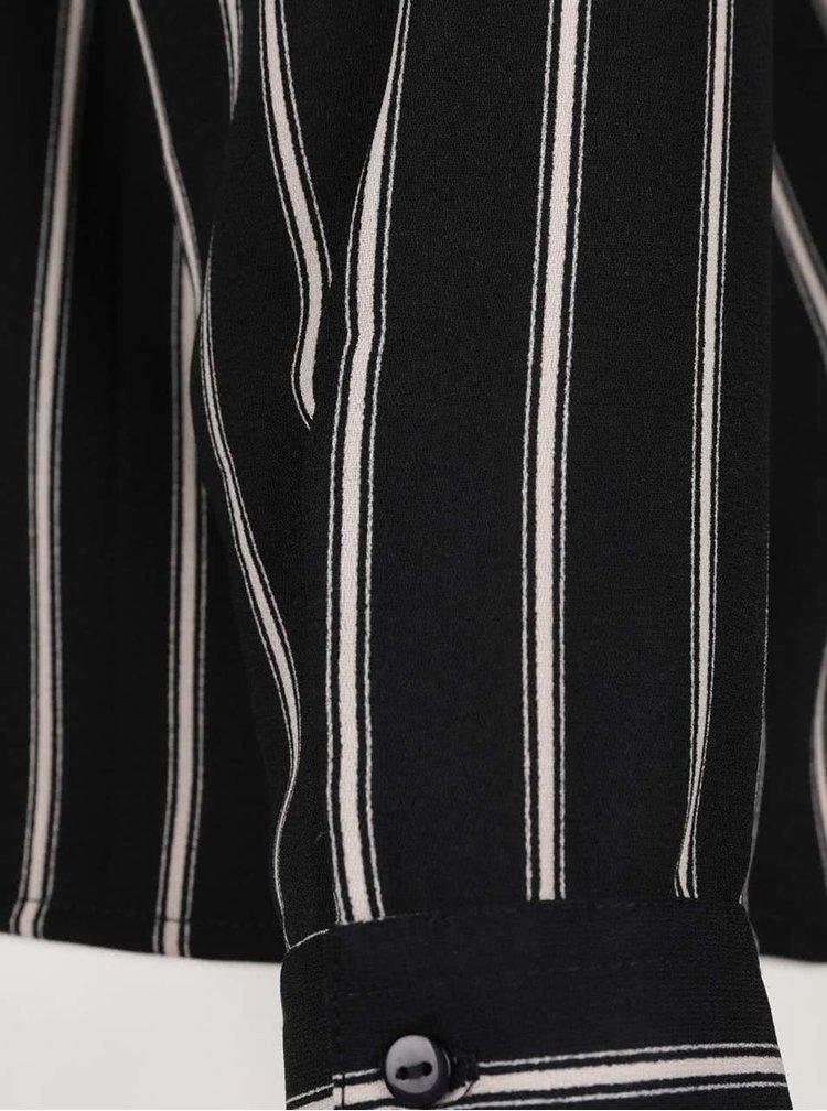 Cămașă negru & crem ONLY Evig cu model în dungi