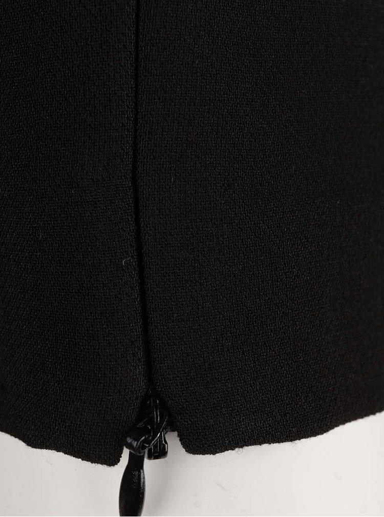 Černé kalhoty s koženkovým lemem ONLY Gia