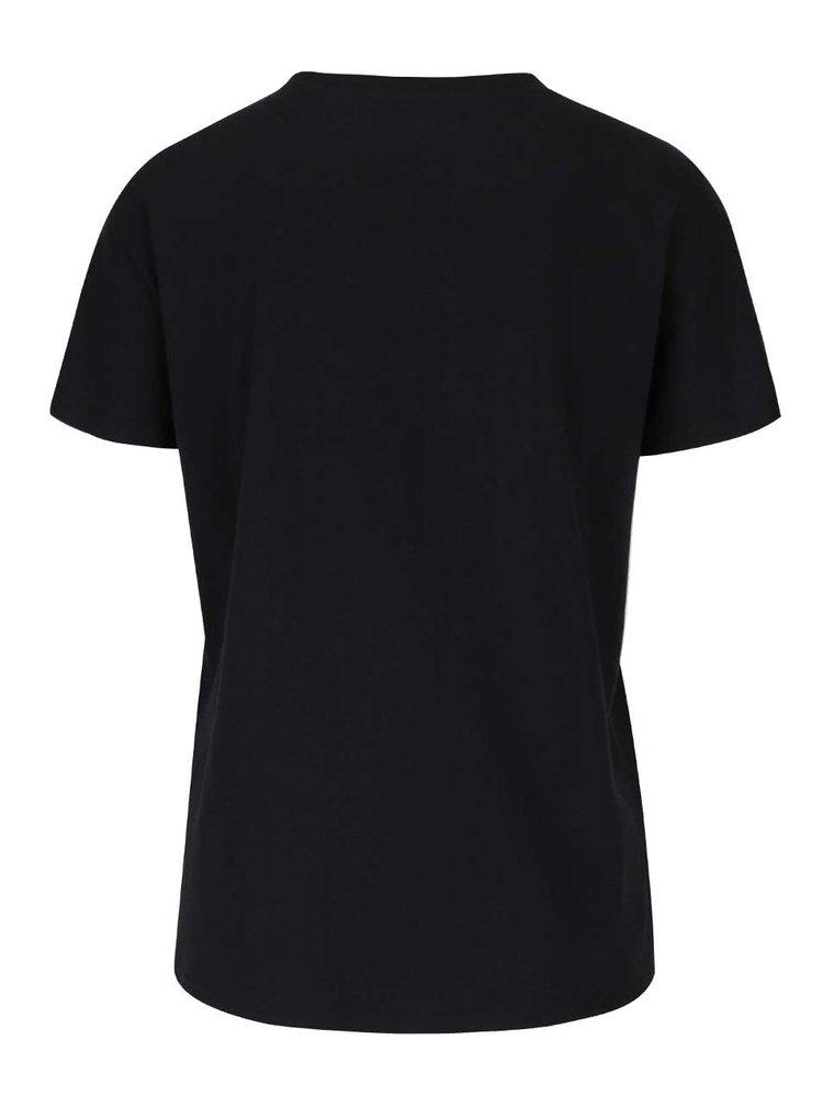 Černé tričko s leopardím vzorem ONLY Dana