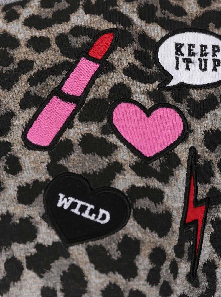 Světle šedé tričko s leopardím vzorem ONLY Dana