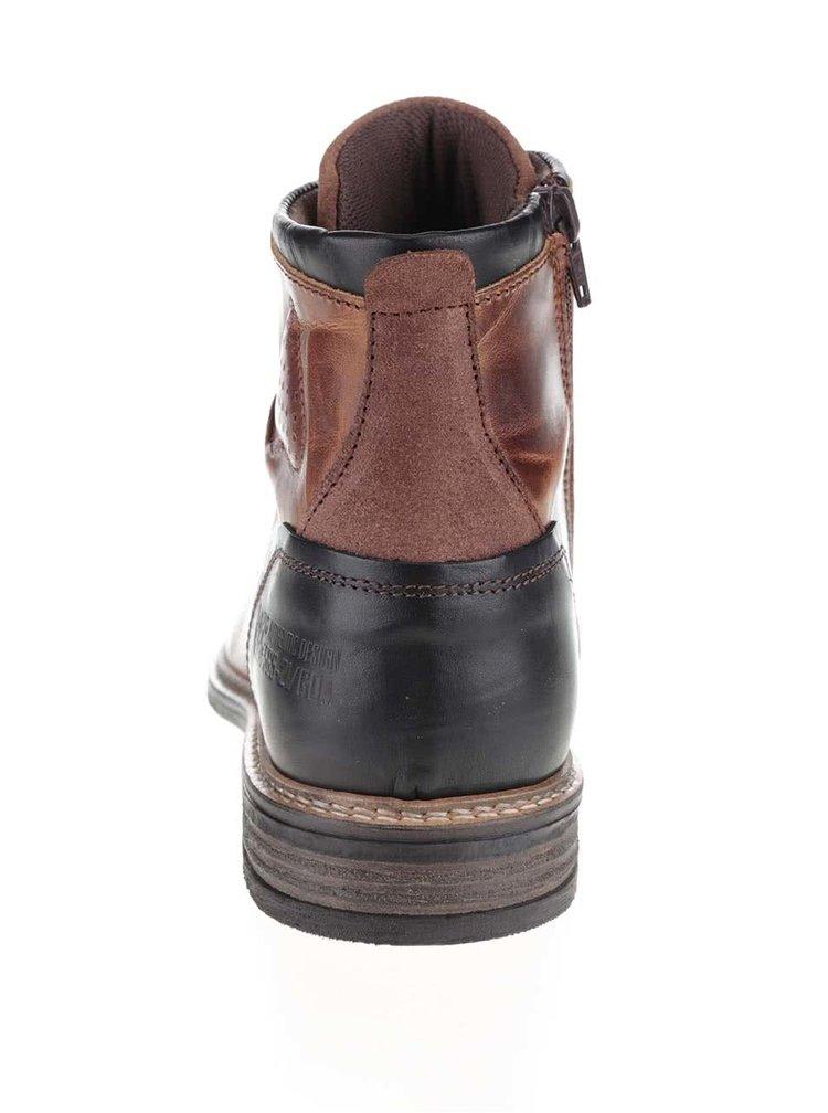 Hnědé pánské kožené kotníkové boty s černou patou Bullboxer