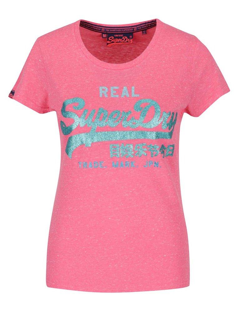 Tricou roz Superdry cu imprimeu