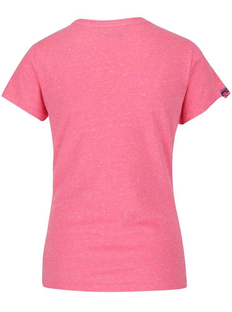 Růžové dámské tričko s potiskem Superdry