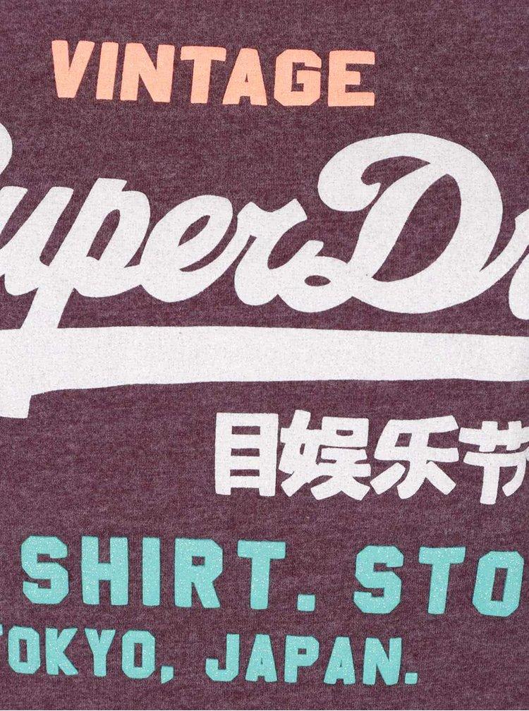 Tricou mov cu print Superdry