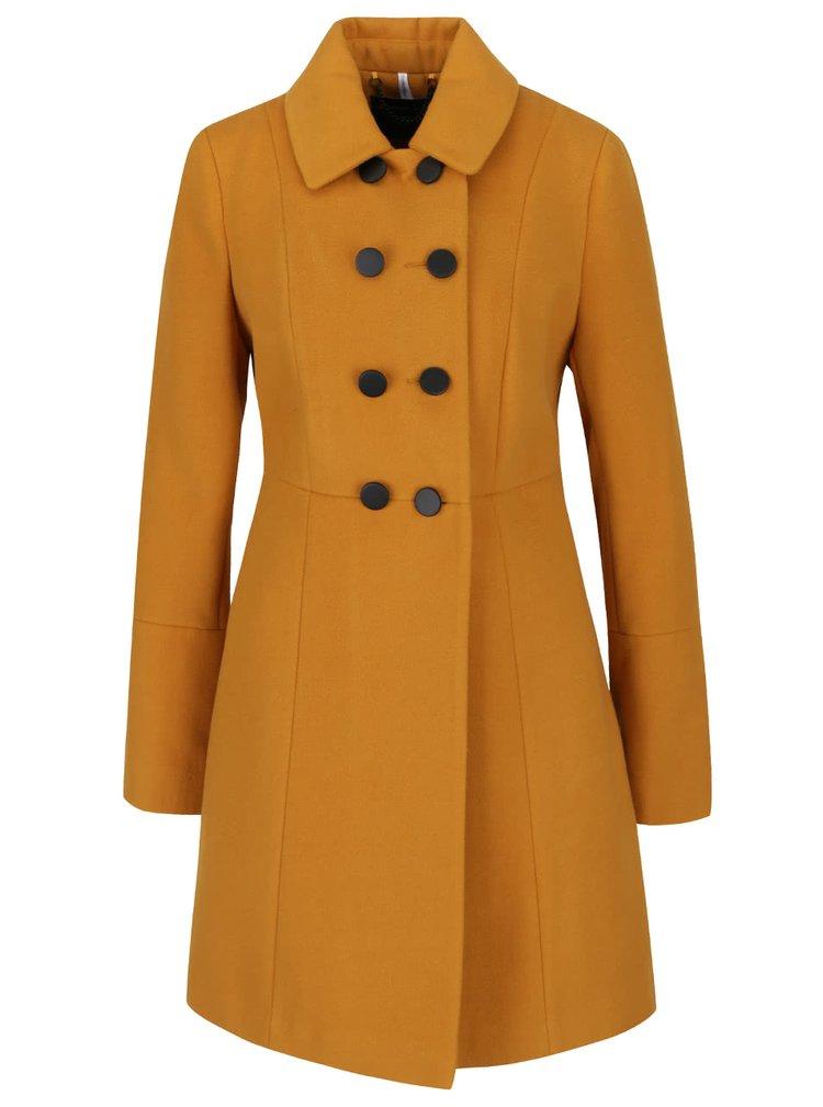 Hořčicový dvouřadý kabát Dorothy Perkins