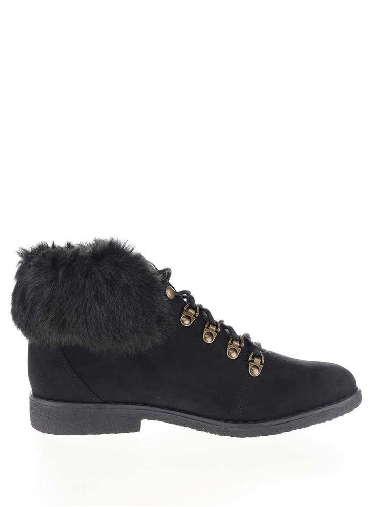 Černé kotníkové boty s umělým kožíškem Dorothy Perkins