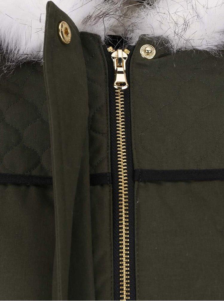 Khaki parka s umělým kožíškem se zipy ve zlaté barvě Dorothy Perkins