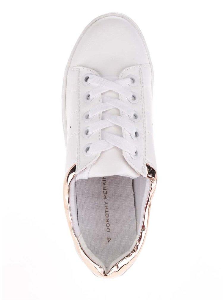 Bílé tenisky s detaily v růžovozlaté barvě Dorothy Perkins