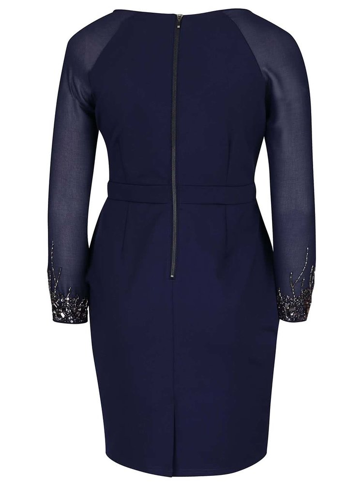 Rochie albastru inchis cu maneci transparente Dorothy Perkins Curve